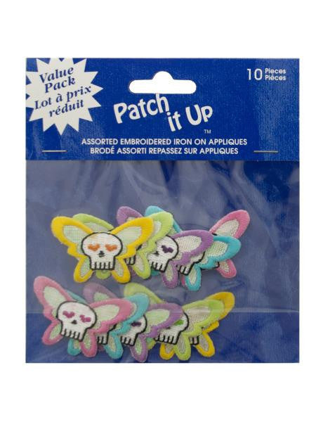 Skull Butterfly Embroidered Iron-On Appliques (Available in a pack of 24)