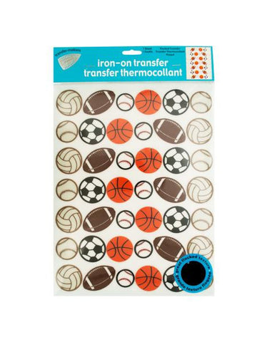 Iron-On Flocked Sports Balls Transfers (Available in a pack of 24)