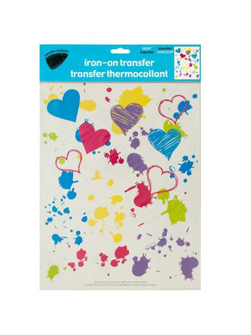 Iron-On Splatter Hearts Transfer (Available in a pack of 24)