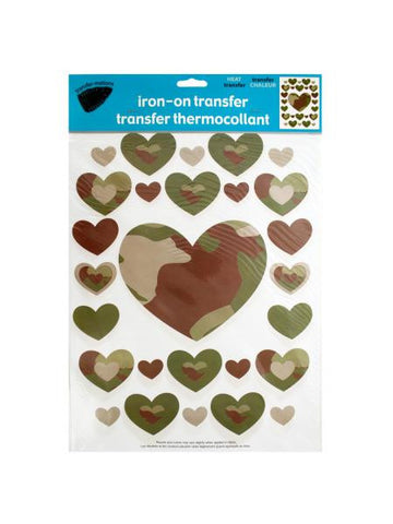Iron-On Camouflage Hearts Transfers (Available in a pack of 24)