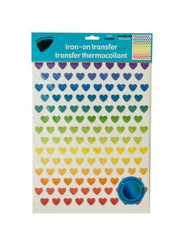 Iron-On Foil Rainbow Hearts Transfers Set (Available in a pack of 24)