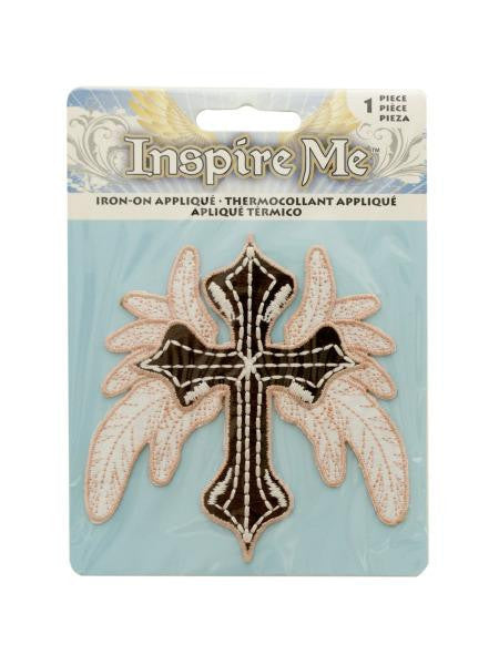Cross with Leaves Iron-On Applique (Available in a pack of 24)