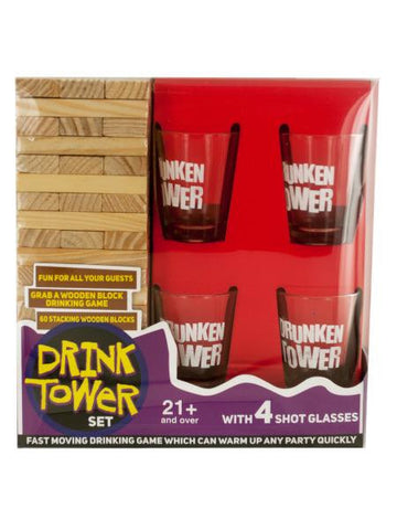 Drink Tower Wooden Block Drinking Game (Available in a pack of 1)