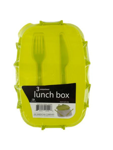 Divided Plastic Lunch Box with Fork & Knife (Available in a pack of 6)