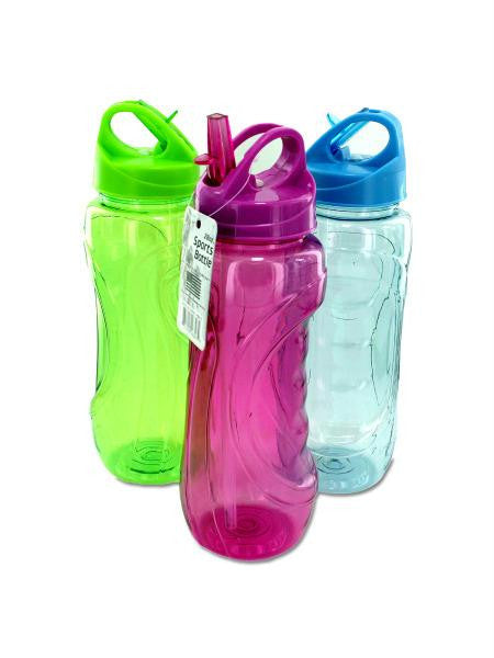 Sports Water Bottle with Flip Straw (Available in a pack of 12)