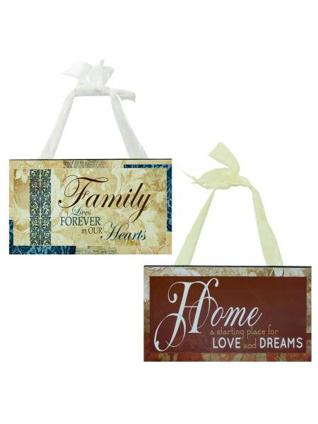 Family & Home Wood Sign with Ribbon Hanger (Available in a pack of 12)