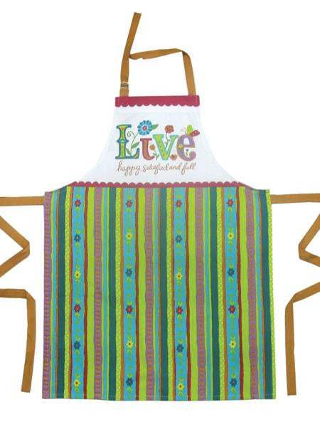 'Live' Delight in Life Cotton Kitchen Apron (Available in a pack of 6) - Blobimports.com