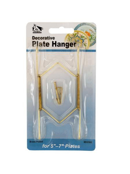 Small Brass-Plated Decorative Plate Hanger (Available in a pack of 24)