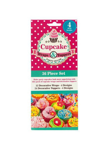Decorative Cupcake Wraps and Toppers Set (Available in a pack of 24)