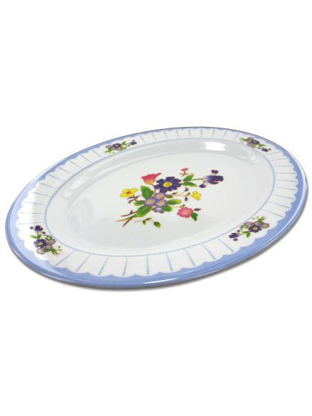 Oval Plate with Flower Design (Available in a pack of 12)