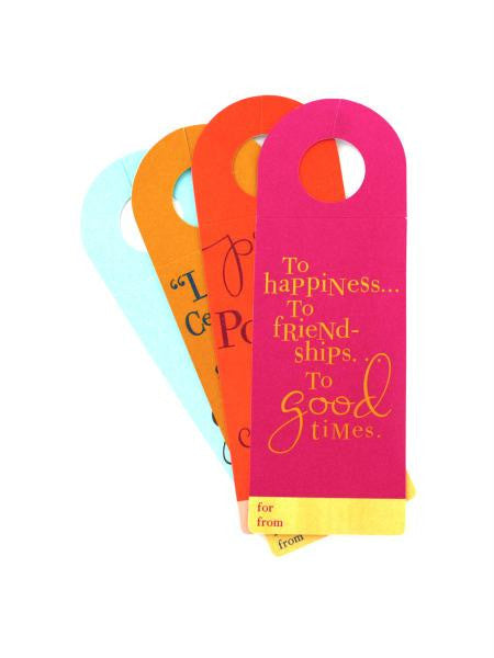 Set of four wine bottle tags (Available in a pack of 36)