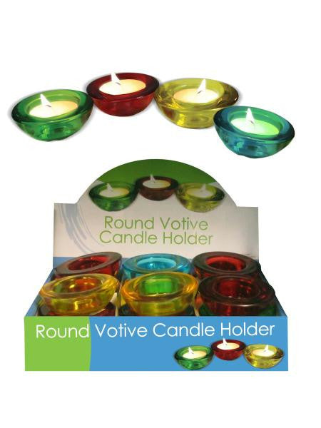 Round Glass Votive Candle Holder Countertop Display (Available in a pack of 12)