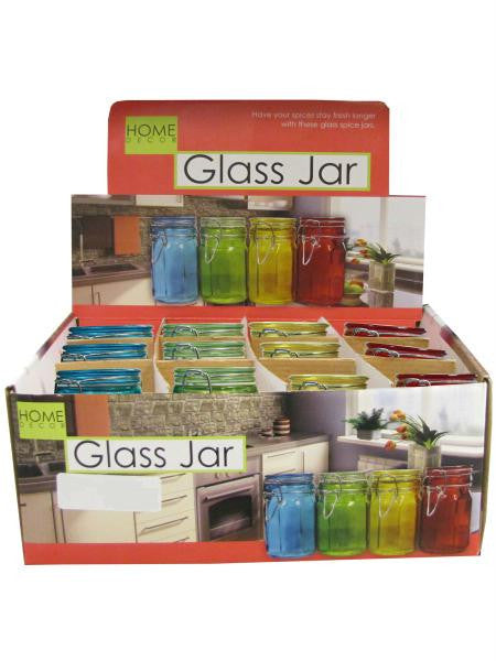 Colored Locking Glass Jar Countertop Display (Available in a pack of 24)
