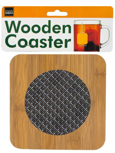 Wooden Coaster with Basketweave Pattern (Available in a pack of 12)