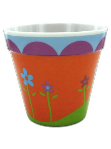 Melamine Flower Pot with Floral Design (Available in a pack of 24)