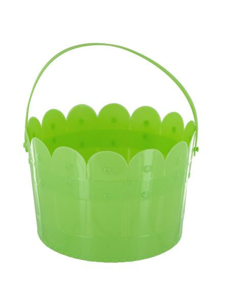 Green Scalloped Plastic Bucket with Handle (Available in a pack of 24)