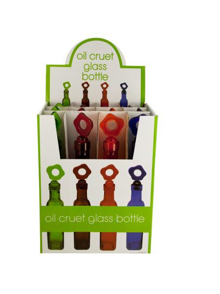 Glass Oil Bottle with Flower Stopper Countertop Display (Available in a pack of 12)
