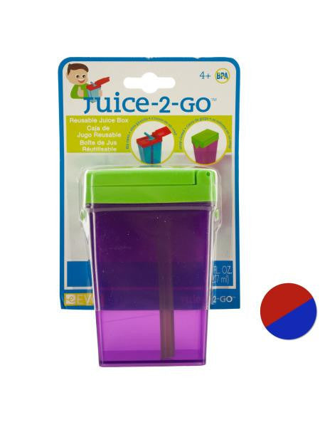 Juice-2-Go Reusable Juice Box with Straw (Available in a pack of 24)