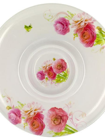 Floral Print Melamine Chip & Dip Plate (Available in a pack of 16)