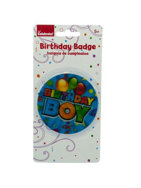Holographic Birthday Boy Badge (Available in a pack of 24)
