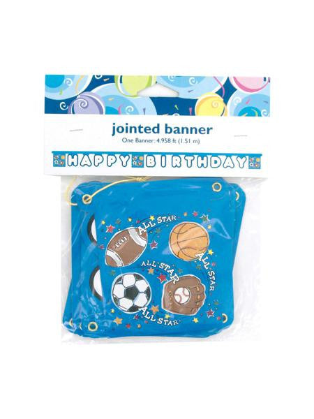Sports Star Happy Birthday Jointed Banner (Available in a pack of 24)