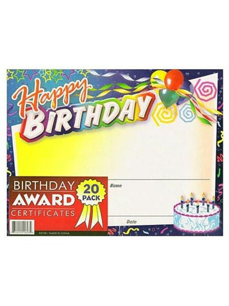 Birthday Award Certificates (Available in a pack of 24)