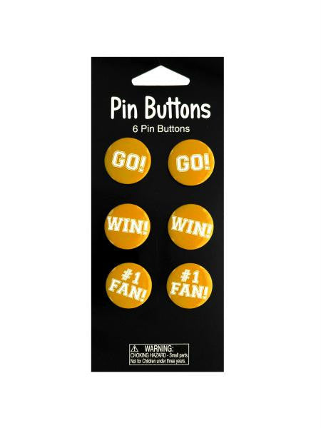 Yellow Cheer Pin Buttons (Available in a pack of 24)