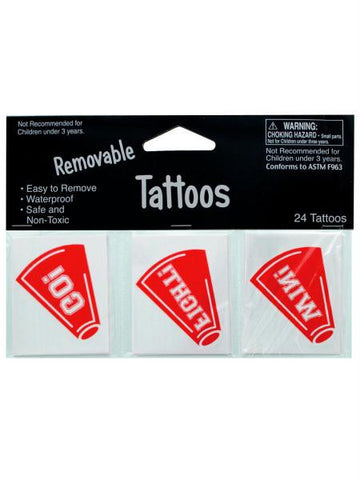 Removable Red Cheer Tattoos (Available in a pack of 24)