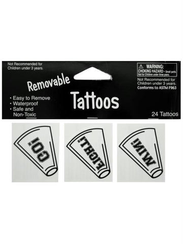Removable White Cheer Tattoos (Available in a pack of 24)