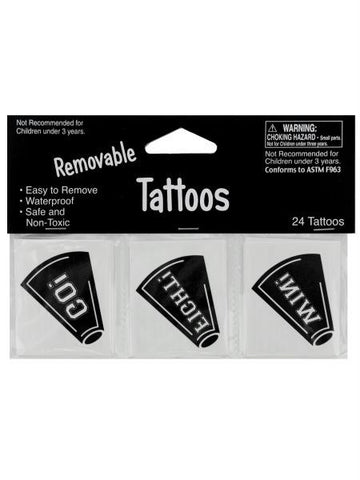 Removable Black Cheer Tattoos (Available in a pack of 24)
