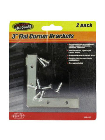 2 Pack 3 Inch Flat Corner Brackets with Screws (Available in a pack of 24)