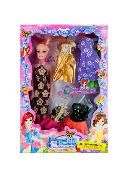 Fashion Doll with Dresses and Earrings (Available in a pack of 4)