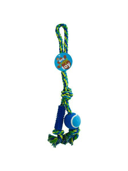 Dog Rope Toy with Ball & Rubber Spikes (Available in a pack of 4)