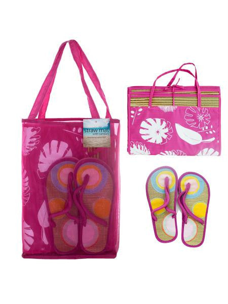 Straw Beach Mat with Sandals in Carrying Bag Set (Available in a pack of 1)