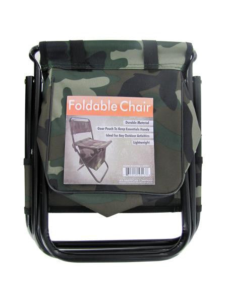 Camouflage Foldable Chair with Zipper Gear Pouch (Available in a pack of 4)