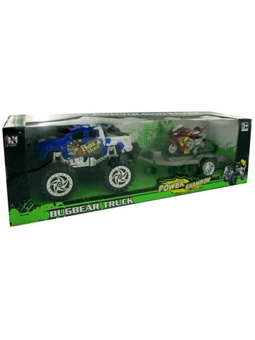 Friction Big Wheel Pickup Truck with Trailer and Motorcycle (Available in a pack of 1)