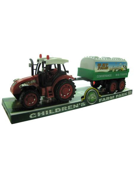 Friction Farm Tractor Truck and Trailer Set (Available in a pack of 3)