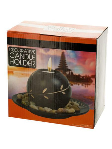 Decorative Round Candle Holder with Stones (Available in a pack of 1)