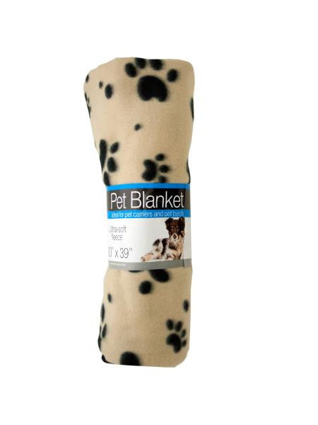 Fleece Paw Print Pet Blanket (Available in a pack of 4)