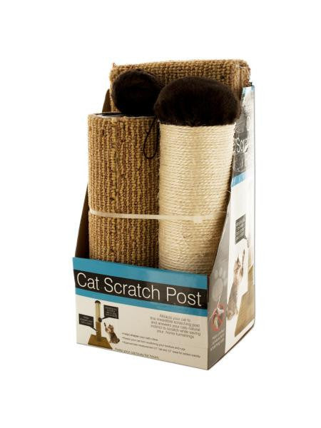 Multi-Textured Cat Scratch Post with Dangling Toy (Available in a pack of 1)