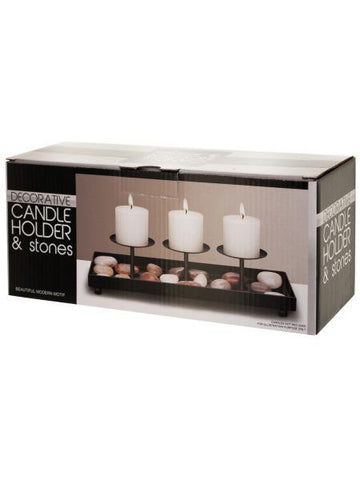 Decorative Metal Candle Holder & Stones Set (Available in a pack of 1)