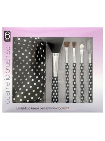 Polka Dot Cosmetic Brush Set with Stylish Bag (Available in a pack of 4)