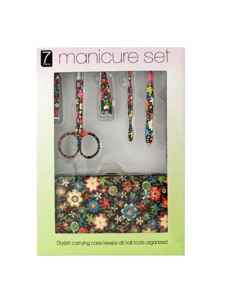 Manicure Set with Stylish Floral Carrying Case (Available in a pack of 4)