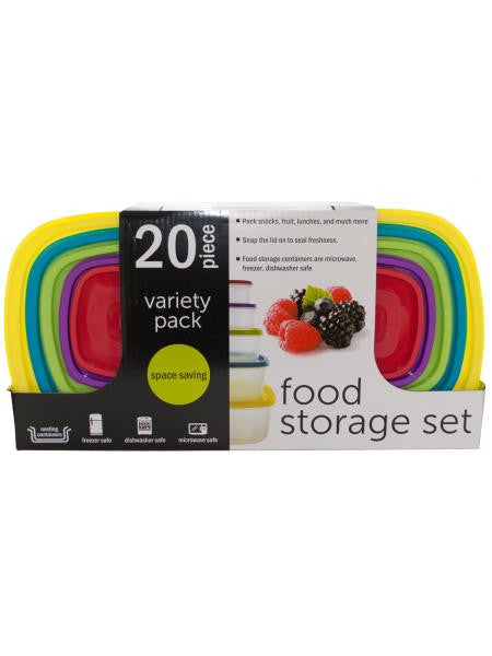 20-Piece Variety Pack Food Storage Containers Set (Available in a pack of 1)