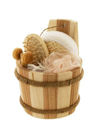 Bath Set in Wood Barrel (Available in a pack of 4)
