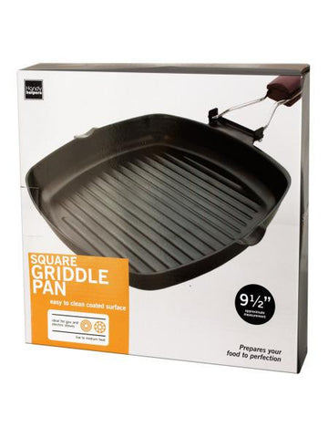 Square Griddle Pan with Wooden Handle (Available in a pack of 1)