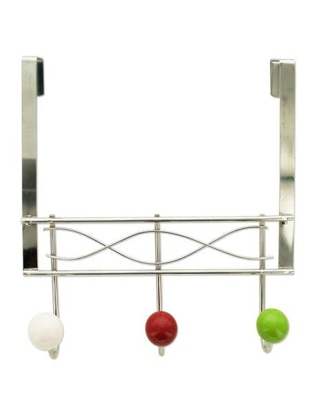 Over the Door Hook Rack with Ceramic Ball Accents (Available in a pack of 8)