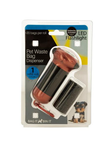 Pet Waste Bag Dispenser with LED Flashlight & Refill Roll (Available in a pack of 4)