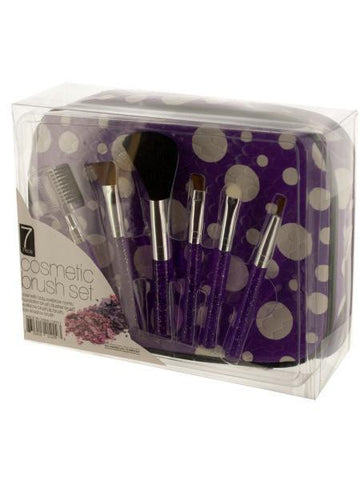 Glitter Cosmetic Brush Set with Carrying Case (Available in a pack of 4)