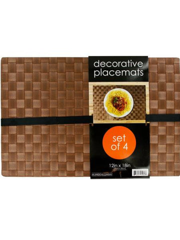 Decorative Wood Look Woven Placemat Set (Available in a pack of 1)